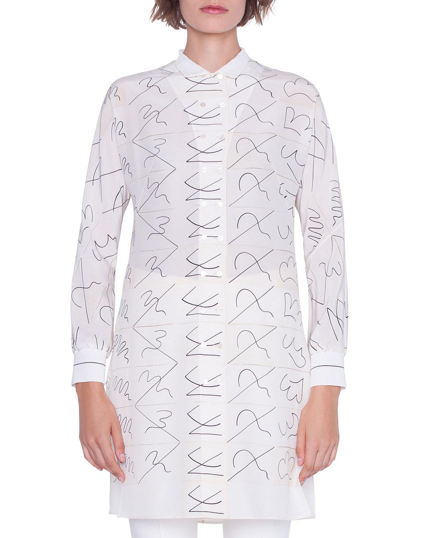 910aca1a68aae Akris Long Double-Breasted Leporello Print Tunic Blouse