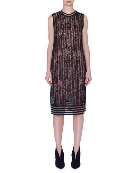 Akris Dresses SLEEVELESS SCRIBBLE LINEN-SILK KNIT DRESS