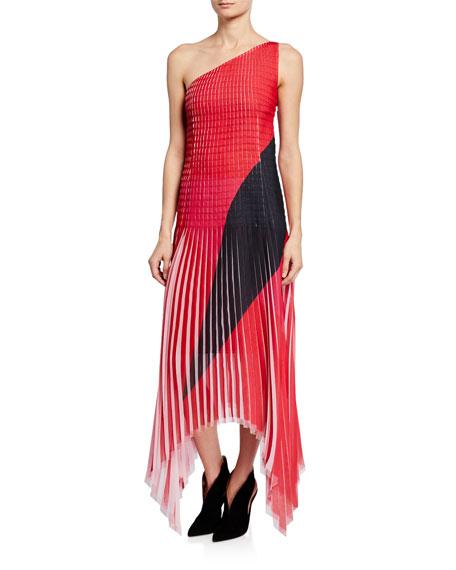 Akris Dresses ONE-SHOULDER PLISSE GEORGETTE DRESS