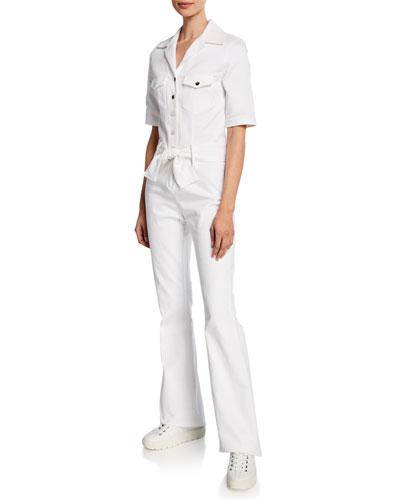 Sophia Short-Sleeve Snap-Front Jumpsuit