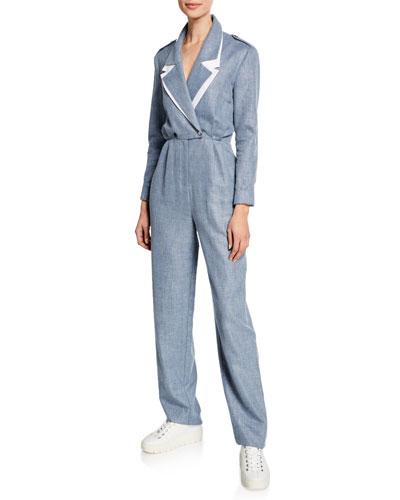 Katia Double-Collar Linen/Wool Jumpsuit
