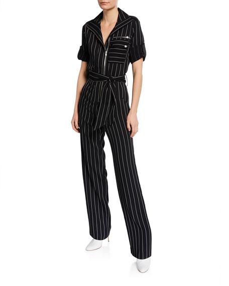 Carolina Ritzler Suits BENJAMIN ROLLED-SLEEVE STRIPE JUMPSUIT