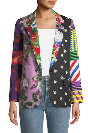 Libertine Mixed Print Long Blazer Jacket