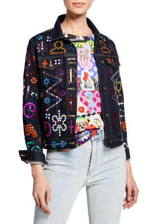 Libertine Strauss Symbol-Studded Denim Jacket
