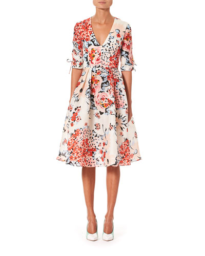 1/2-Sleeve V-Neck Floral-Print Dress