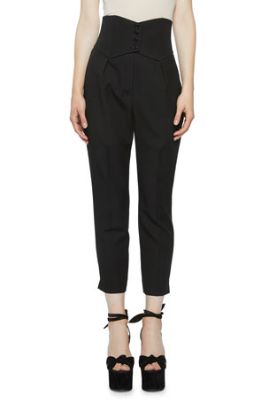 Saint Laurent High-Rise Button-Banded Crop Trousers