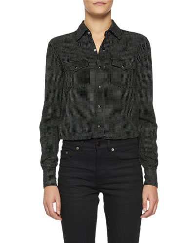 Dotted Snap-Front Shirt