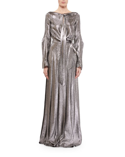 Velero Lame Tie-Neck Maxi Dress