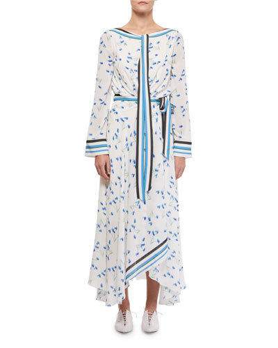 Fernandina Tie-Neck Printed Handkerchief Dress