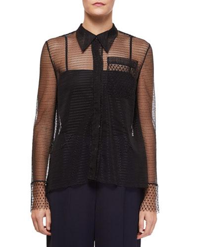 Algar Sheer-Sleeve Lace Boyfriend Shirt