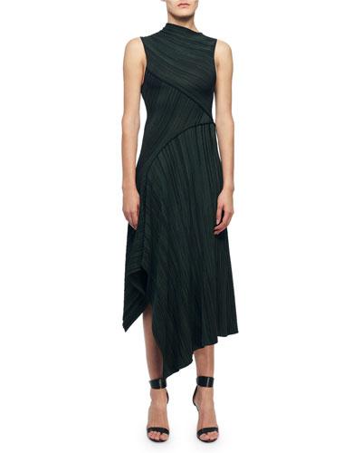 Funnel Neck Asymmetric Two-Tone Dress