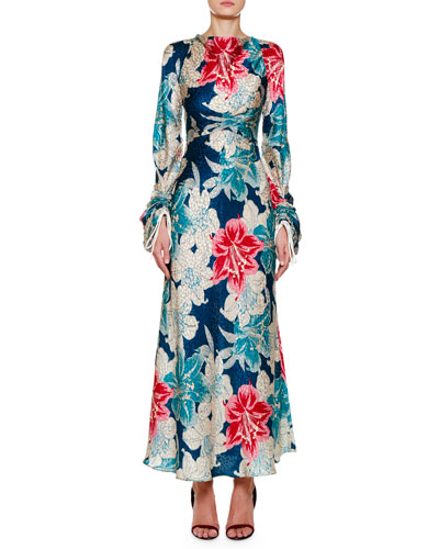 Ruched-Sleeve Lily Floral Jacquard Dress