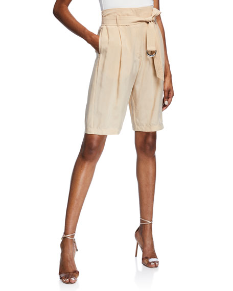 Sally Lapointe BELTED HIGH-RISE SHORTS