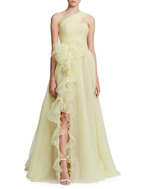 7531449c40 Marchesa One-Shoulder Cascading Organza Gown
