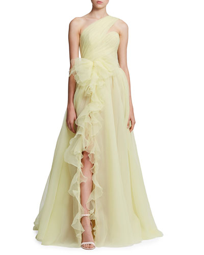 One-Shoulder Cascading Organza Gown