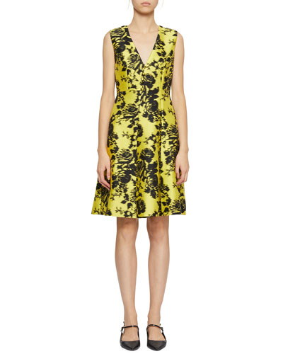 Yoko Sleeveless Floral-Jacquard V-Neck Dress