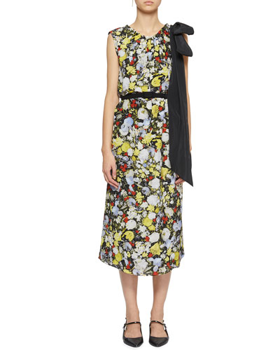 Breena Bow-Shoulder Floral Midi Dress