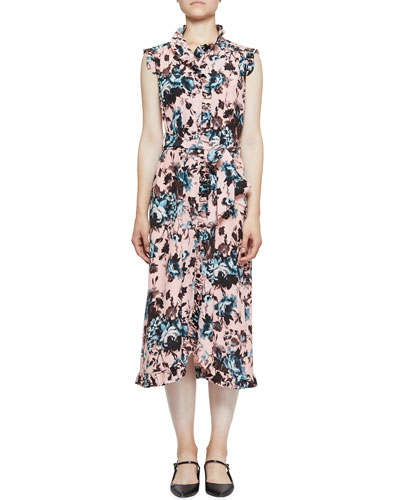 Sebla Ruffled Floral-Print Shirtdress