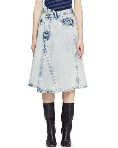 Deconstructed Acid-Wash Denim Midi Skirt