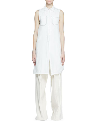 Long Sleeveless Button-Front Blouse