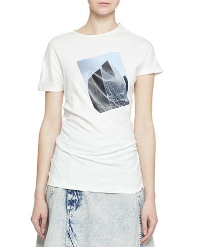 Short-Sleeve Building Patch Twisted T-Shirt