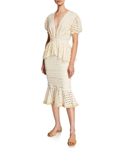 Lovers Bridge Short-Sleeve Cotton Eyelet Dress