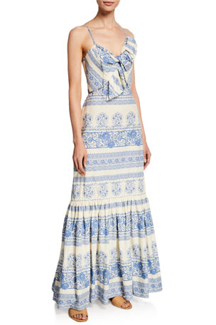 Johanna Ortiz Deep Waters Tapestry-Print Cami Dress