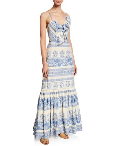 Deep Waters Tapestry-Print Cami Dress