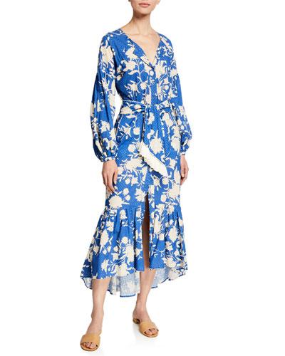 Lost in Flowers Floral Eyelet Long-Sleeve Dress