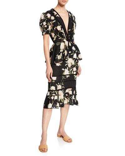Floral Print Eyelet Dress