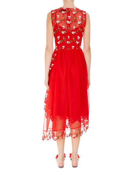 Sleeveless Floral Embroidered Tulle Dress