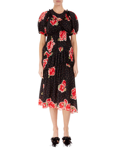 Floral Puff-Sleeve A-Line Dress