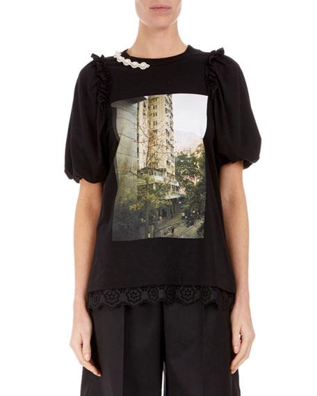 Simone Rocha Short-Sleeve Pearl-Neck T-Shirt
