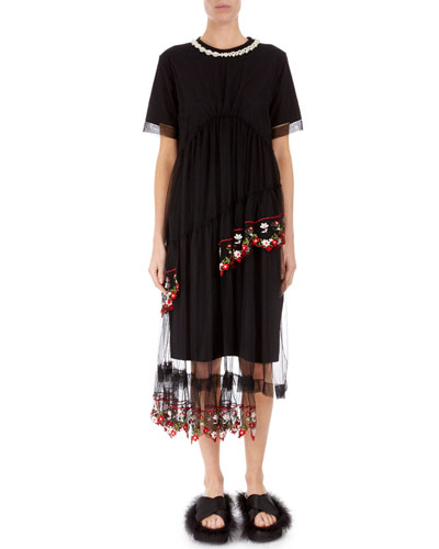Embroidered-Tulle Asymmetric T-Shirt Dress