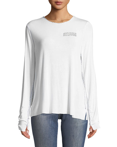 Long-Sleeve Tee with Contrast Topstitching and Beaded Trim