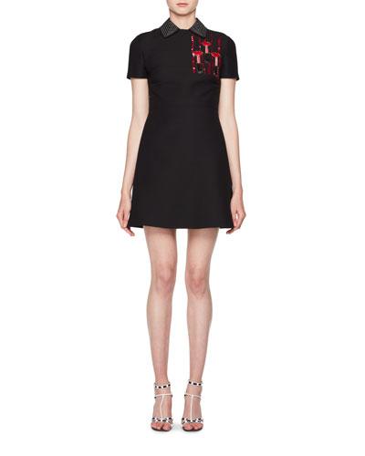 Short-Sleeve Crepe Mini Dress w/ Sequin Applique