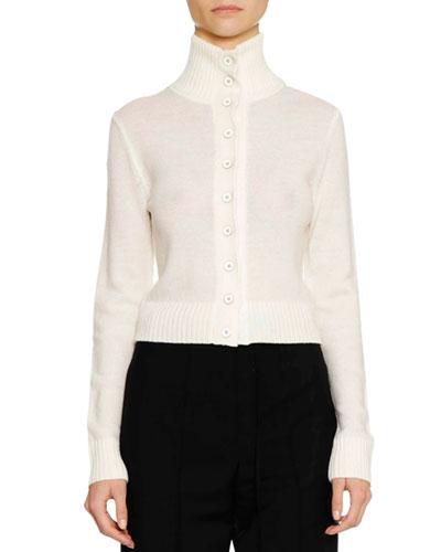 Turtleneck Button-Front Wool-Blend Cardigan