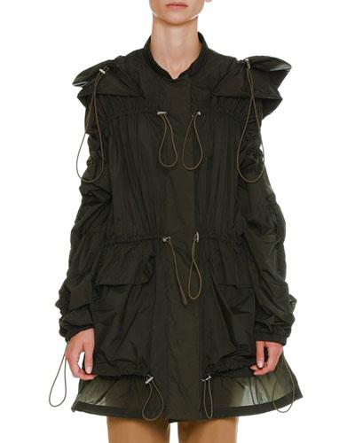 Hooded Drawstring Anorak Jacket with Large Pockets