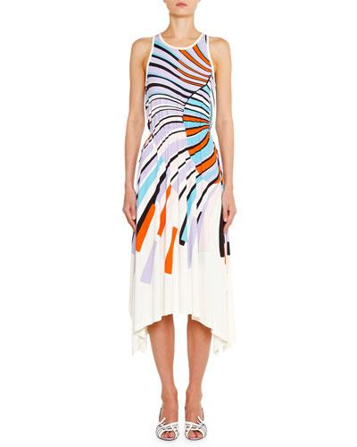 High-Neck Pleated Hank-Hem Midi Dress