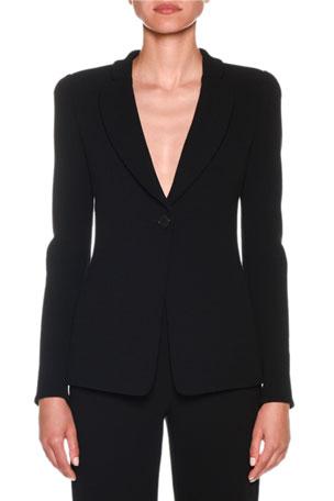 Giorgio Armani One-Button Jersey Long Jacket