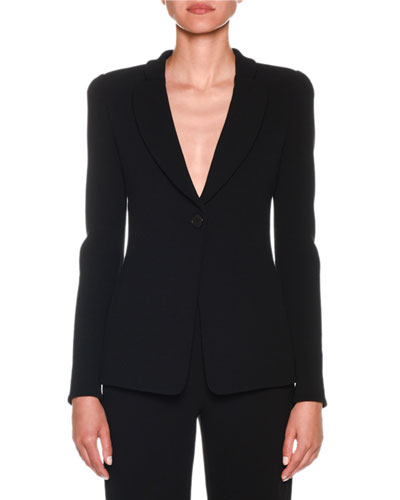 One-Button Jersey Long Jacket