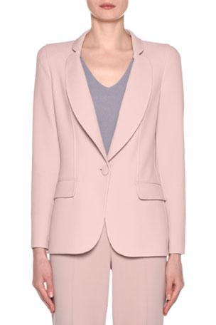 Giorgio Armani Wool Crepe One-Button Blazer, Pink