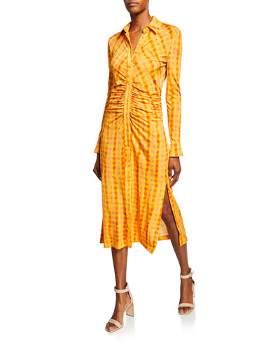 Ruched Gingham Long-Sleeve  Shirtdress