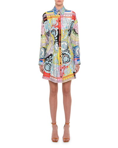 Long-Sleeve Floral-Print Silk Shirtdress