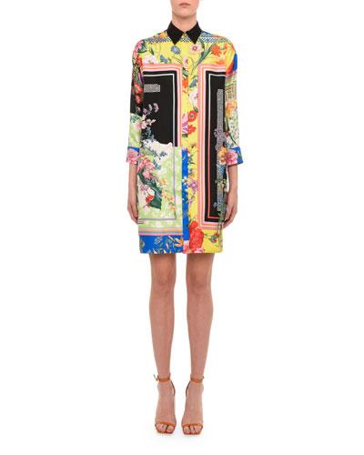Floral-Print Leather-Trim Shirtdress