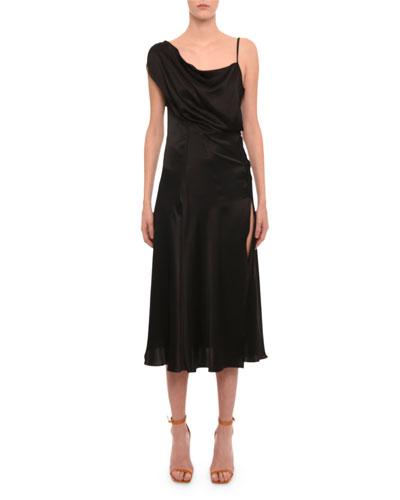 One-Shoulder High-Slit Midi Cocktail Dress