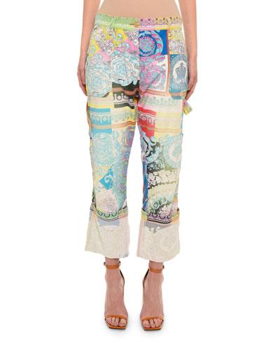 Floral-Print Denim Cargo Pants