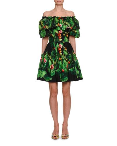 Off-the-Shoulder Cactus Print Fit & Flare Dress