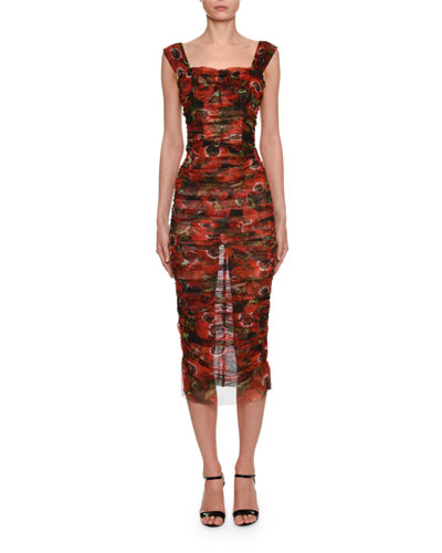 Sleeveless Anemoni Print Ruched-Tulle Dress