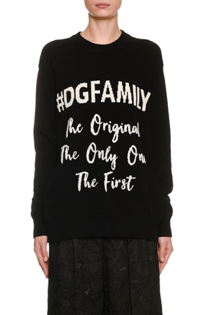 Dolce & Gabbana Cashmere Oversized Family Intarsia Sweater